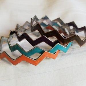 Jewelry - Zig Zag Bangle Bracelets Set of 4